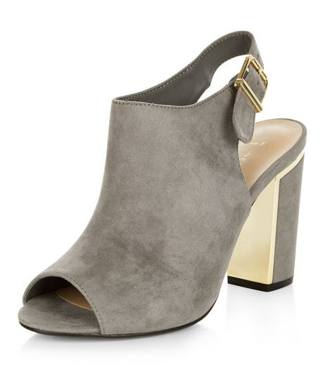 Wide Fit Grey Suedette Metal Trim Block Heels | New Look