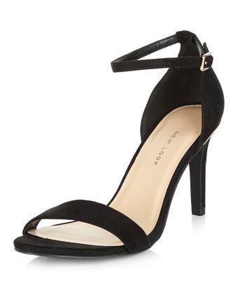 Sandalo  donna Wide Fit Black Suedette Metal Trim Ankle Strap Heels