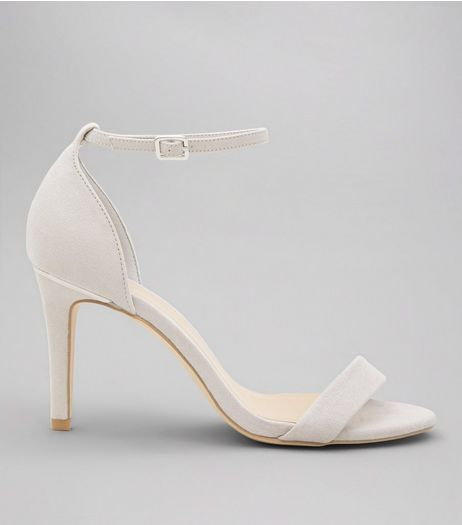 Wide Fit Pale Grey Suedette Metal Trim Ankle Strap Heels  | New Look