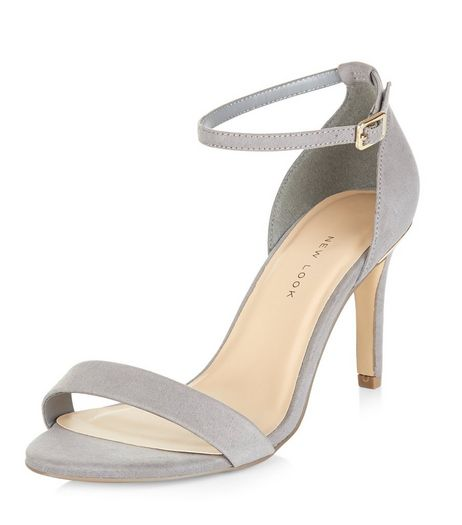 Wide Fit Grey Suedette Metal Trim Ankle Strap Heels  | New Look