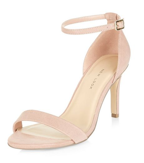 Wide Fit Pink Suedette Metal Trim Ankle Strap Heels  | New Look