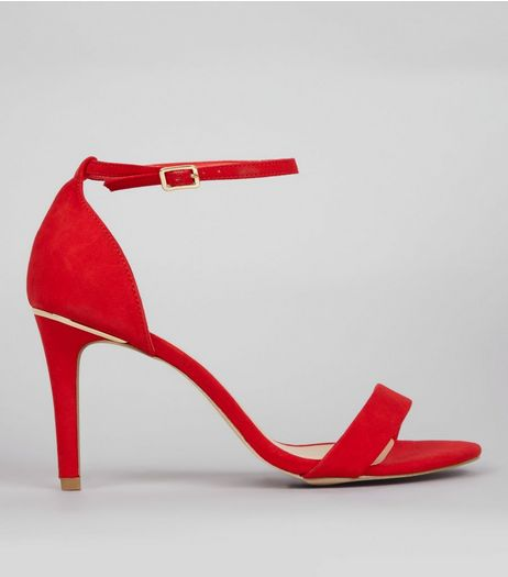 Wide Fit Red Suedette Metal Trim Ankle Strap Heels | New Look