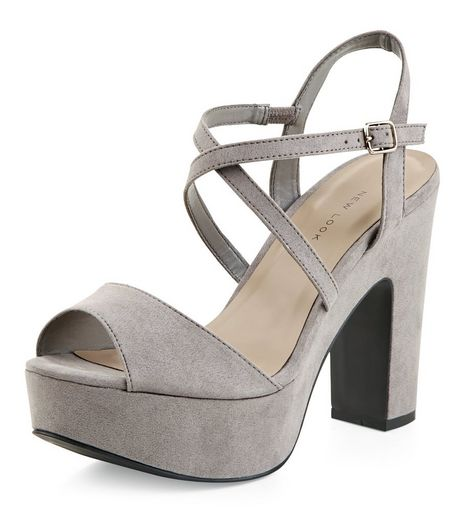 Wide Fit Grey Suedette Cross Strap Block Heels  | New Look