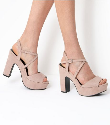 Wide Fit Nude Suedette Cross Strap Platform Heels | New Look