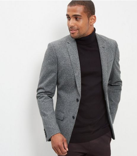 Grey Textured Blazer | New Look