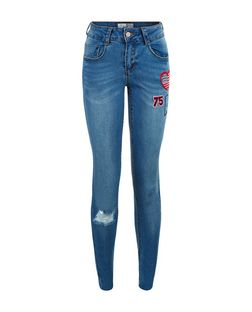 Teens Blue Badge Skinny Jeans | New Look