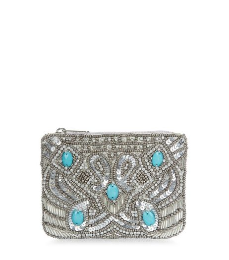 Silver Paisley Print Sequin Zip Top Purse | New Look