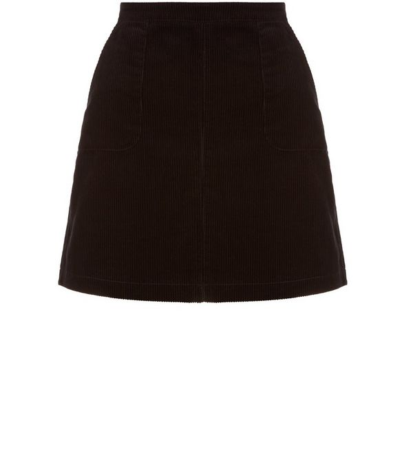 Teens Black Cord A-Line Skirt