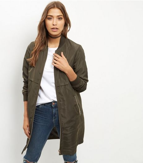 Khaki Longline Bomber Jacket | New Look