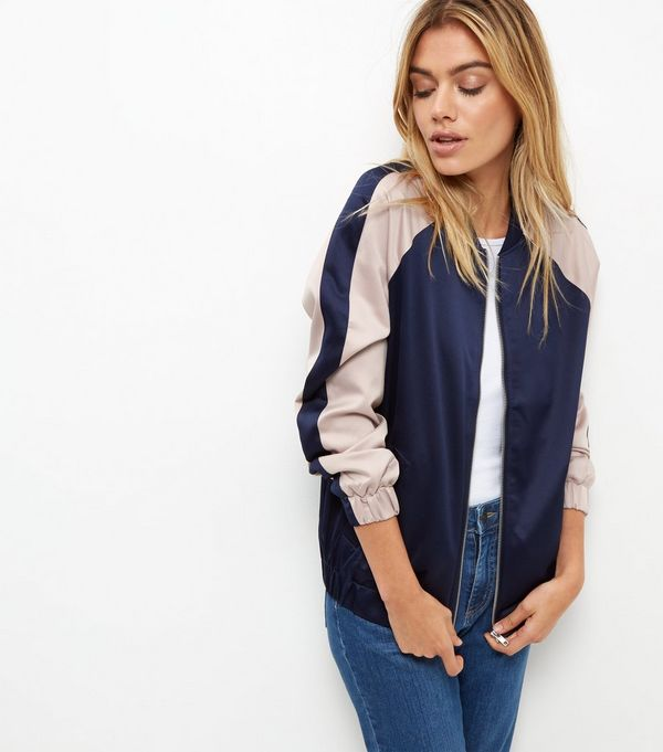 Blue Sateen Colour Block Bomber Jacket