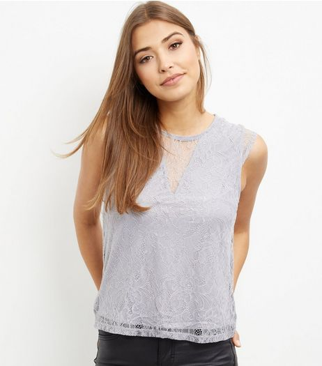 Grey Lace Overlay Sleeveless Top  | New Look