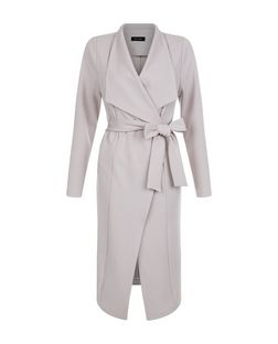Grey Tie Waist Waterfall Duster Coat  | New Look