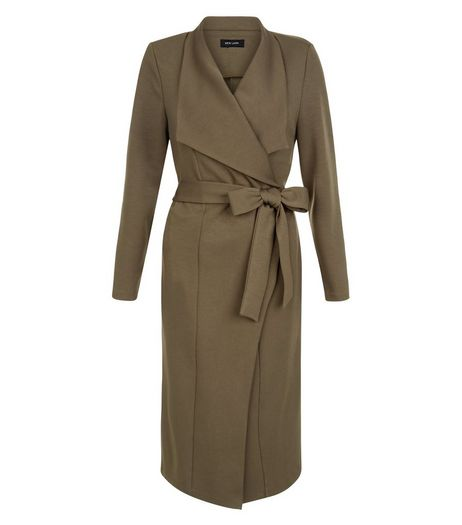 Khaki Tie Waist Waterfall Duster Coat | New Look