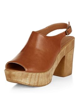 Tan Peep Toe Sling Back Platform Sandals  | New Look