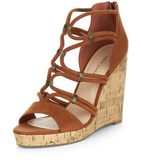 Tan Suedette Metal Trim Strappy Wedges  | New Look