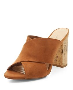 Tan Suedette Cork Heel Mules | New Look