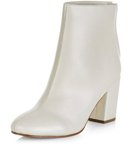 Cream Leather-Look Pointed Block Heel Ankle Boots  | New Look
