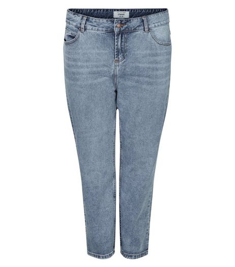 Blue Cotton Straight Cut Jeans | New Look