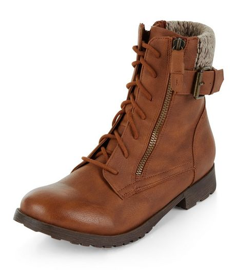 Tan Knitted Cuff Lace Up Boots  | New Look