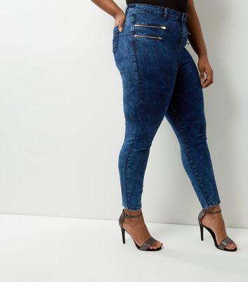 Curves Navy Acid Wash Multi Zip Skinny Jeans