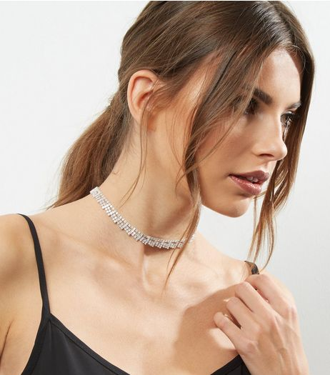 Crystal Diamante Layered Choker | New Look