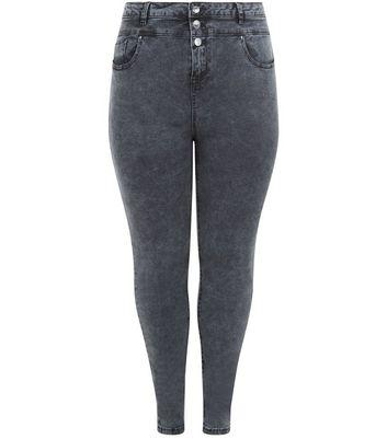 Curves Grey High Waisted Skinny Jeans