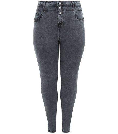Curves Grey High Waisted Skinny Jeans | New Look