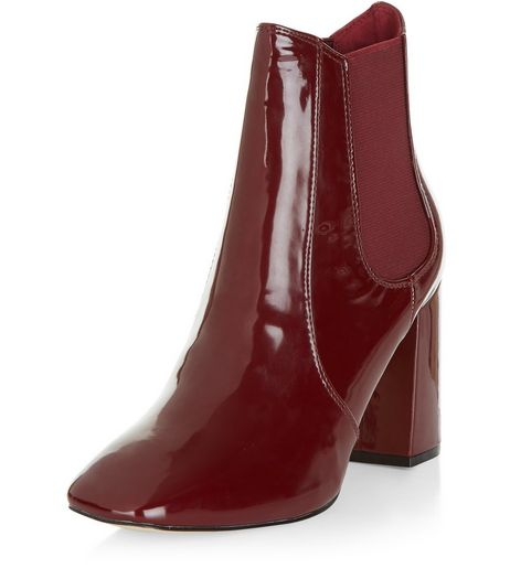 Red Patent Block Heel Chelsea Boots | New Look