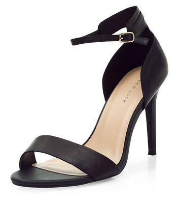 Sandalo  donna Black Leather Ankle Strap Heels