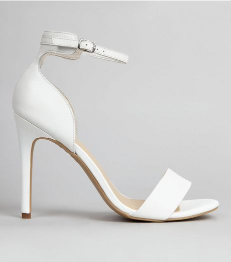 White Leather Ankle Strap Sandals | New Look