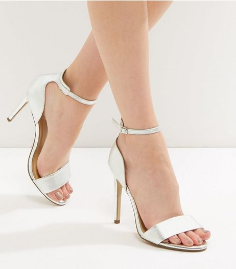 Silver Metallic Leather Ankle Strap Heels | New Look