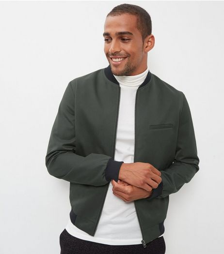 Dark Green Tailored Bomber Jacket  | New Look