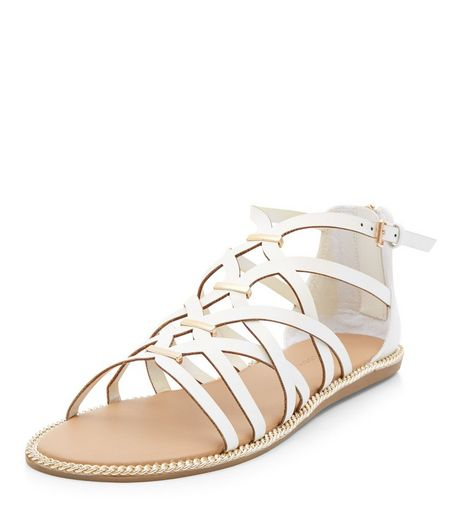 White Metal Trim Caged Sandals  | New Look