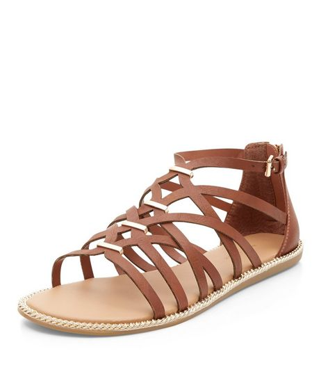Tan Metal Trim Caged Sandals  | New Look