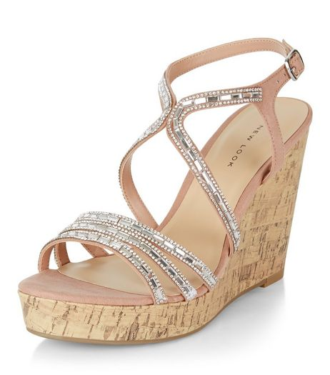 Pink Embellished Strappy Wedge Sandals   | New Look