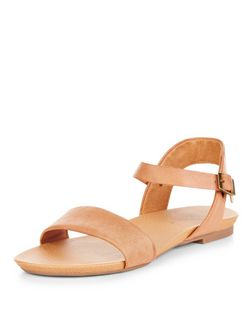 Tan Leather-Look Ankle Strap Sandals  | New Look