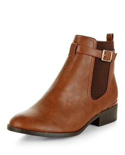 Tan Buckle Strap Metal Trim Chelsea Boots | New Look