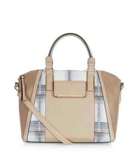 Stone Check Bowler Bag | New Look