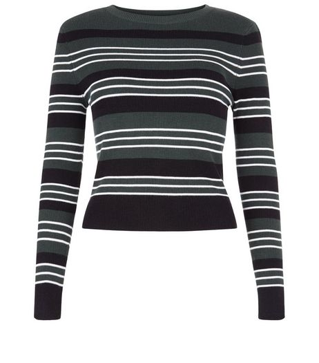 Teens Green Stripe Crew Neck Ribbed Jumper | New Look