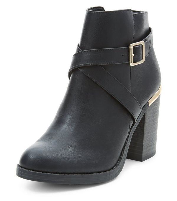 Black Cross Strap Block Heel Ankle Boots