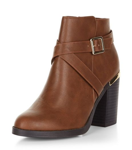 Tan Cross Strap Block Heel Ankle Boots  | New Look