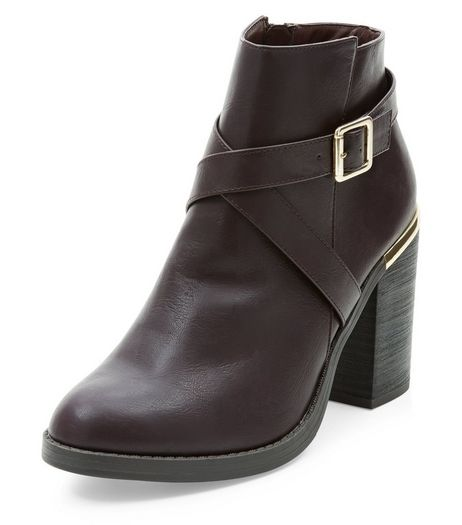 Red Cross Strap Block Heel Ankle Boots  | New Look
