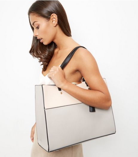 Cream Contrast Panel Shopper Bag | New Look