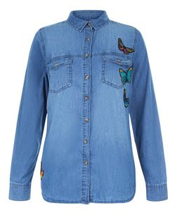 Blue Butterfly Badge Long Sleeve Denim Shirt  | New Look