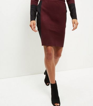 burgundy-contrast-stripe-midi-skirt