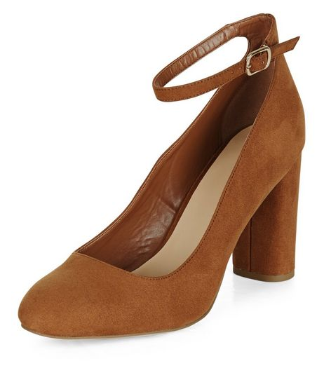 Tan Suedette Ankle Strap Court Shoes | New Look