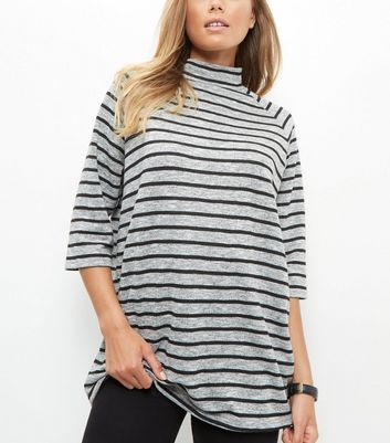 Grey Stripe Funnel Neck 3/4 Sleeve Oversized Top