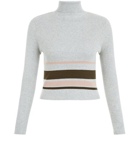 Teens Grey Ribbed Placed Stripe Funnel Neck Top | New Look