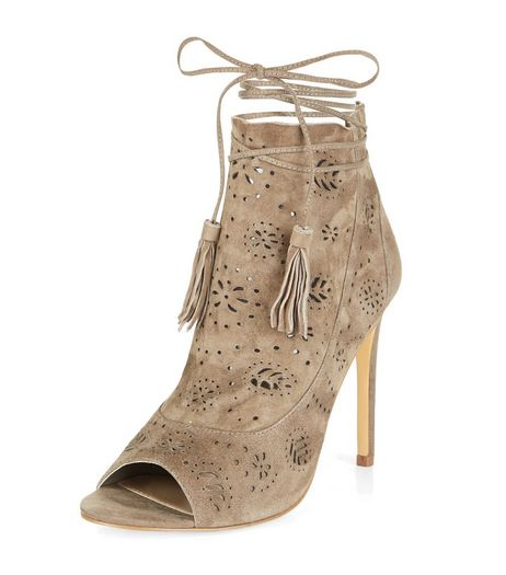 Grey Premium Leather Laser Cut Out Peep Toe Heels | New Look