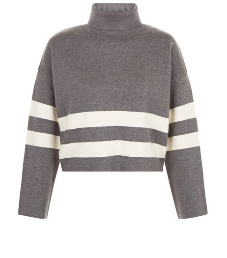 Teens Grey Stripe Funnel Neck Cropped Jumper | New Look